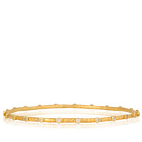 Baby Stone Hammered Gold Bangle with White CZs