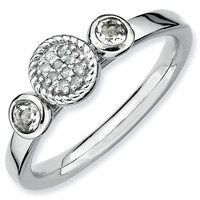 White Topaz and Diamond Cluster Stackable Ring 1/20ctw