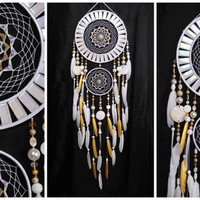 Wedding gifts Dreamcatcher White gold mosaic Dream Catcher Large Dreamcatcher Dream сatcher idea pearlescent dreamcatcher boho unique gift