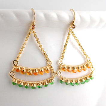 Gemstone encrusted chandelier earrings