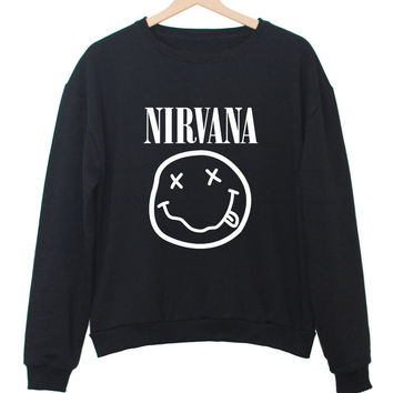 NIRVANA Women's Casual Black & White Crewneck Sweatshirt