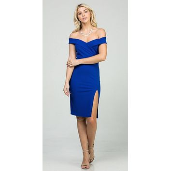 Royal Blue Off-Shoulder Short Cocktail Dress with Slit
