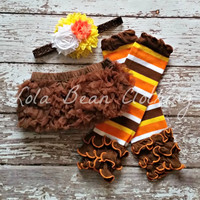 Baby Girl TuTu Brown Bloomers Chiffon Ruffle Diaper Cover Headband Set 6 12 18 months Photography Prop CAKE SMASH Leg warmers Thanksgiving
