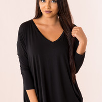 Piko Top: 3/4 Sleeve V Neck in Black