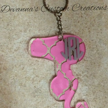 Quarter Foil Monogram Blow Dryer Acrylic Key Chain