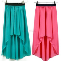 Girl Asymmetric Dovetail Chiffon Long Skirt Elastic Waist Band 16595 One Size = 5737708929