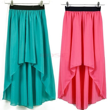 Girl Asymmetric Dovetail Chiffon Long Skirt Elastic Waist Band 16595 One Size = 1945854148