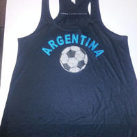 ARGENTINA Glittery Flowy Racer Back Tank Top World Cup Brazil 2014 Soccer Football Copa del Mundo