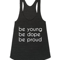 be young-Female Athletic Tri Black Tank