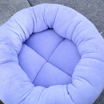 Dog bed or cat bed, 18 inch in a lavender purple microplush fabric that is machine washable