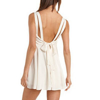 Pleated Tie-Back Skater Dress: Charlotte Russe