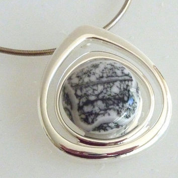 Fused Glass Pendant in Silver and Mottled Black and White