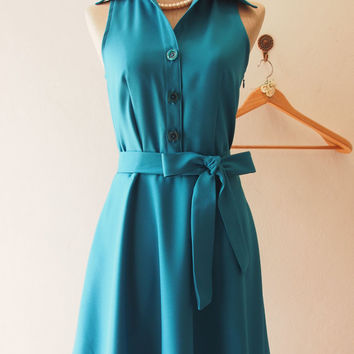 DOWNTOWN - Teal Shirt Dress, Teal Bridesmaid Dress, Teal midi Dress Casual Dress, 1950 Inspired Dress, Vintage Party Dress, XS-XL,Custom