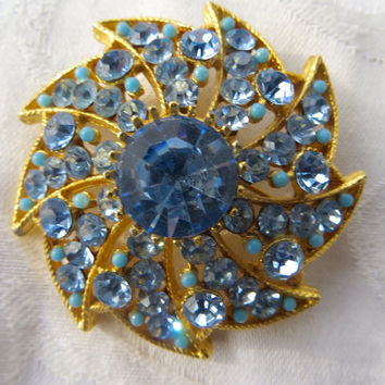 Vintage BSK Rhinestone Brooch, Seed Turquoise Accents, Atomic Pin, Baby Blue, Designer Signed