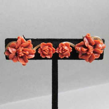 Retro 1940's Celluloid Coral ORCHID & ROSE Flowers Clip Earrings