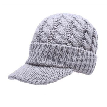 6f249d38c23 EFINNY Fashion Women Warm Winter Hat With Visor Knitted Hats Cro