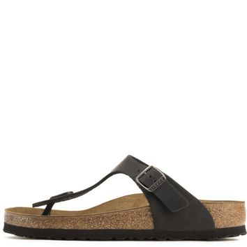 Birkenstock For Women: Gizeh Oiled Leather Black Sandals - Beauty Ticks