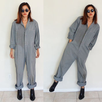 Vintage UNISEX  sz 38 waist coveralls dirty flightsuit gray  mechanic zip up oversized jumpsuit jumper