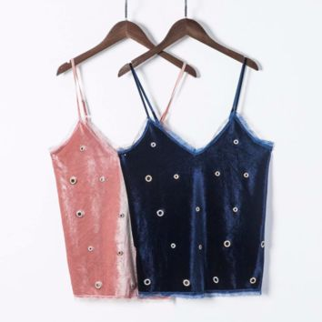 FREE SHIPPING Summer lace lace hand - made lace corduroy suspenders hollow short top straps