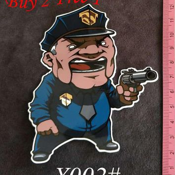 Y002# Police PVC Sticker Home Decor Fridge Styling Wall Travel Suitcase Graffiti Styling Stickers