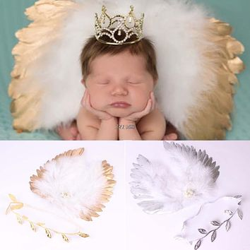 Newborn Baby Infant Angle Wings Leaves Costume Photo Photography Props Outfits