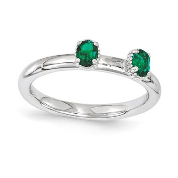 Sterling Silver Stackable Expressions Simulated Emerald Two Stone Ring