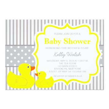 Rubber Ducky Baby Shower Invitations Stripes