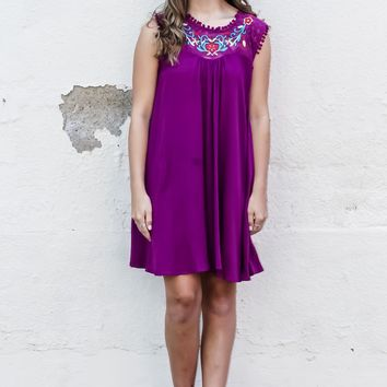 One Fine Day Embroidered Dress: Purple