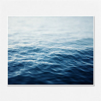 Ombre Blue Sea Shark Week Beach Decor Modern Minimalist Wall Art 8x10 Water Bathroom Bedroom Abstract Waves Peaceful Sapphire Ocean Art