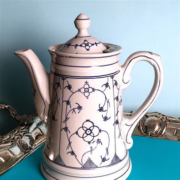 Antique Coffee Pot, Coffee Server, Vintage China, Bridal Shower Tea, Shabby Cottage Chic, Blue and White