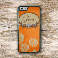 Fall winter fashion, Iphone case for women, Floral Iphone 6 case, Distressed orange flowers, Monogram Iphone 6 cover, Pretty phone case 9653