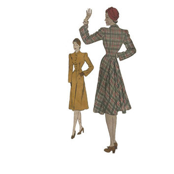 1940s Vogue Couturier Pattern 300 Bust 34 Coat with Broad Shoulders and Shawl Collar UNCUT Women's Vintage Sewing Pattern