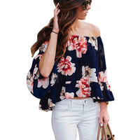 Women Sexy Off Shoulder Flower Print 3/4 Sleeve Clubwear Tunic Tops Blouse Shirt