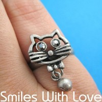 Adjustable Kitty Cat Animal Ring in Silver