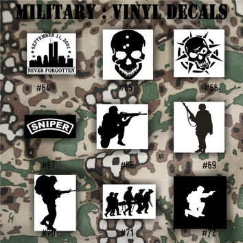 MILITARY vinyl decals - 64-72 - Army, Air Force, Navy and Marines - car decal - window sticker - vinyl sticker - vinyl decal