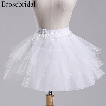 24 Hours Shipping White Tulle Girls Petticoat Slip With No Hoop Short Underskirt For Ball Wedding Dress 2018 New Arrival