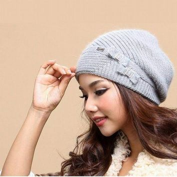 PEAPUNT New Autumn And Winter Women Hat Winter Beanies Knitted Hats For Woman Rabbit Fur Cap Ladies Fashion Skullies Free Shipping