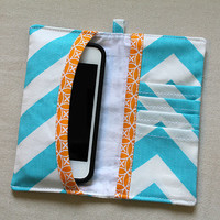 iphone / cell phone wallet. Aqua Chevron. Wristlet wallet for mobile phone.