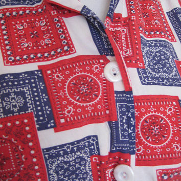 Vintage 70's bandana print sleeveless cropped top button up shirt red white blue hippie boho  country western
