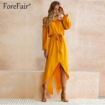 Forefair Casual Yellow Strapless Maxi Dress For Women Off Shoulder Long Sleeve High Low Party Dresses Ruffle Lace-up Robe Dress