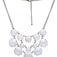 Iridescent Faceted Statement Necklace | Wet Seal