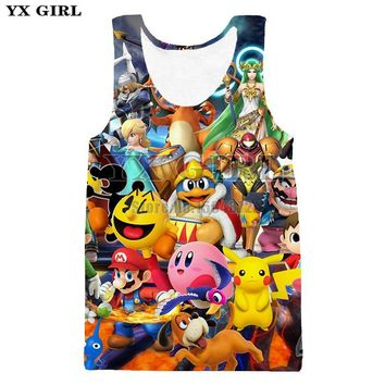 Super Mario party nes switch YX Girl Unisex 3d Full Printed Cartoon Vest For Men/Women Summer Tank Tops /pikachu Tank Top O-neck Sleeveless Tops AT_80_8