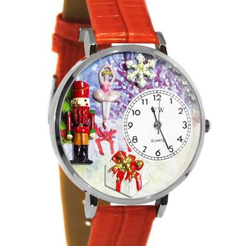 Christmas Nutcracker Red Leather And Silvertone Watch