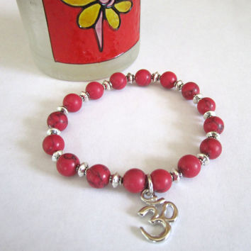 Stretch Stack Bracelet  Red Howlite with Om by 636designs on Etsy
