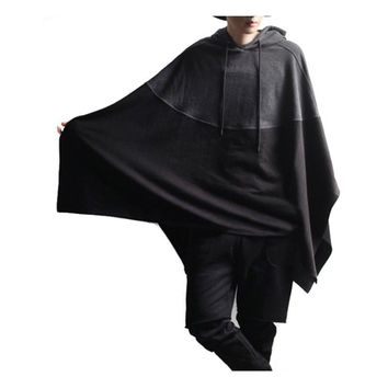 2017 Autumn Winter Men Magician Party Wear Hoodie Color Stitching Hooded Sweatshirt Irregular Casual Male Poncho Cloak Cape Coat