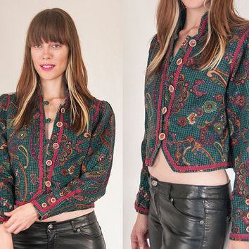 80s Military Style Cropped Paisley Jacket Small | Womens High Collar Edwardian Embroidered Button Down Tailored Fitted Blazer 1980s by Fosha