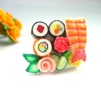 Maki and Ebi Lovely Sushi Ring - polymer clay food jewelry , food ring