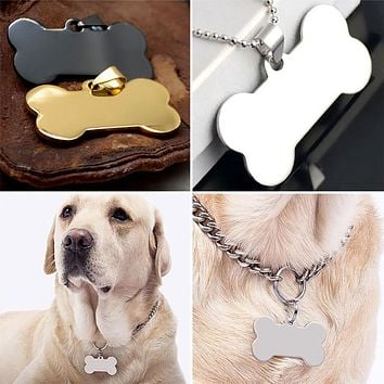 Cute Personalized Engraved Stainless Steel Dog Cat Pet ID Name Blank Bone Tag