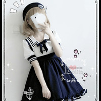 J-fashion Harajuku Sailor Collar High Waist Casual Short Sleeve Dress LK18042302 from lolita store