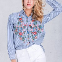 Floral Embroidered Button-Up Blouse